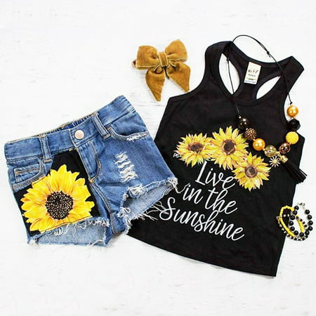 2PCS Toddler Baby Kids Girl Summer Clothes Live in The Sunshine Sunflower Vest Tank Tops+Denim Short Pants Outfit Set 1-2 - Children Clothing Boutique