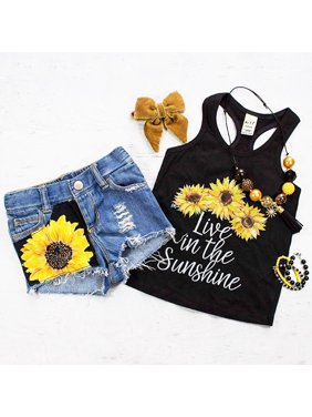 d3a606c4bf5c2 Product Image 2PCS Toddler Baby Kids Girl Summer Clothes Live in The  Sunshine Sunflower Vest Tank Tops+
