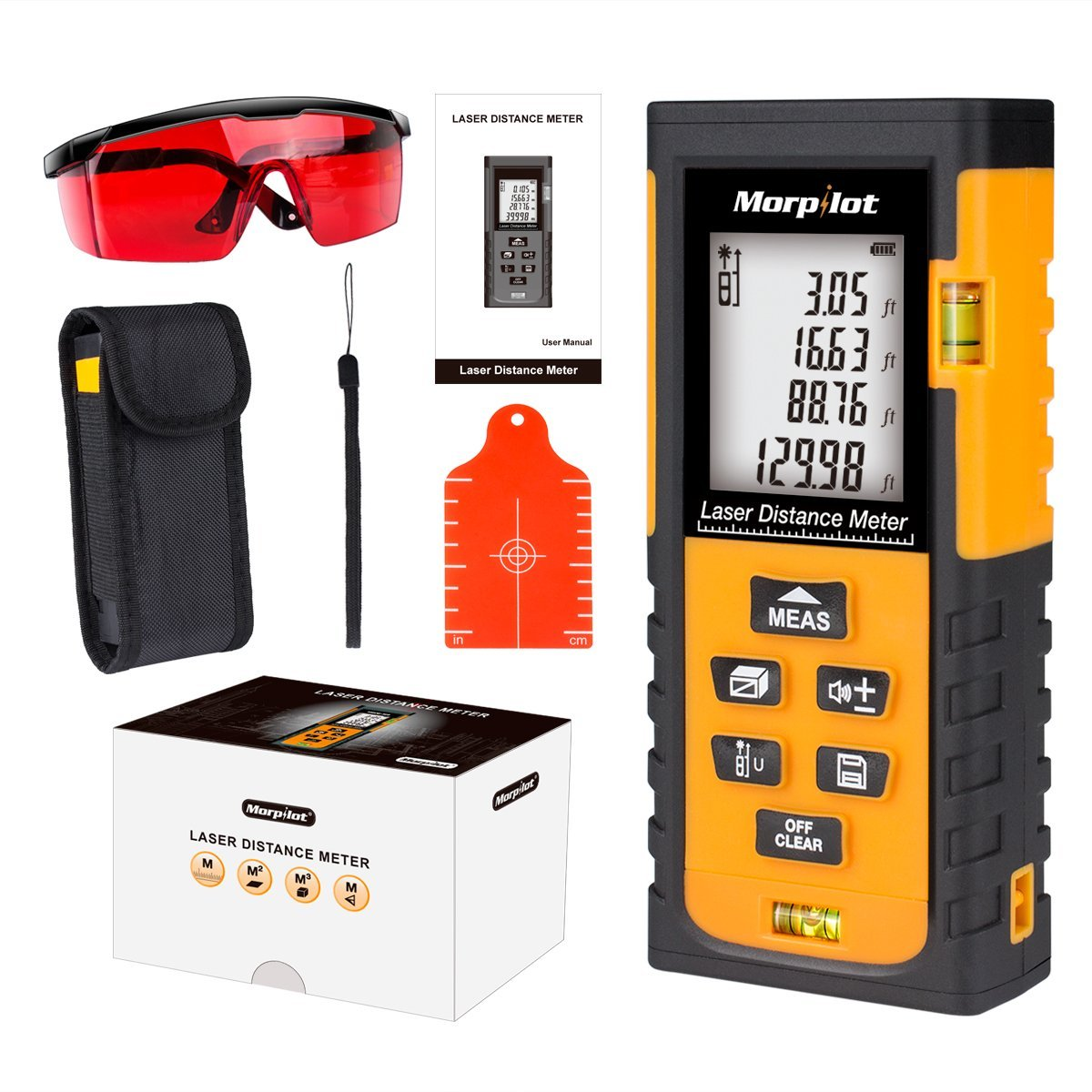 262ft Laser Distance Meter - Morpilot Laser Tape Measure with Target Plate & Enhancing Glasses, Laser Measuring Device with Pythagorean Mode, Measure Distance, Area, Volume Calculation