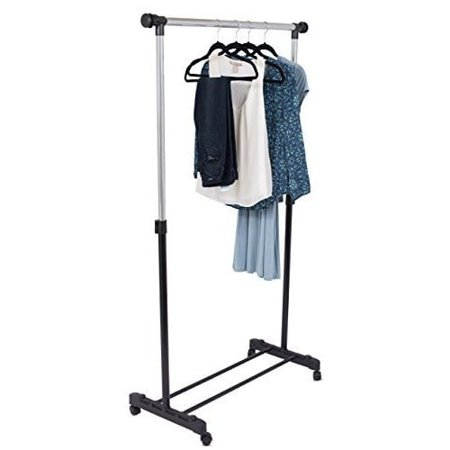Internet's Best Portable Clothes Garment Rack | Steel Rolling Closet Wardrobe Organizer | Adjustable Height and Expandable Hanging Rod | Bottom Shoe Shelf | On Wheels |Chrome & Black