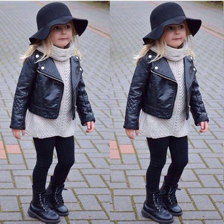 New Kids Girl Fashion Motorcycle PU Leather Jacket Biker Coat Overcoat -