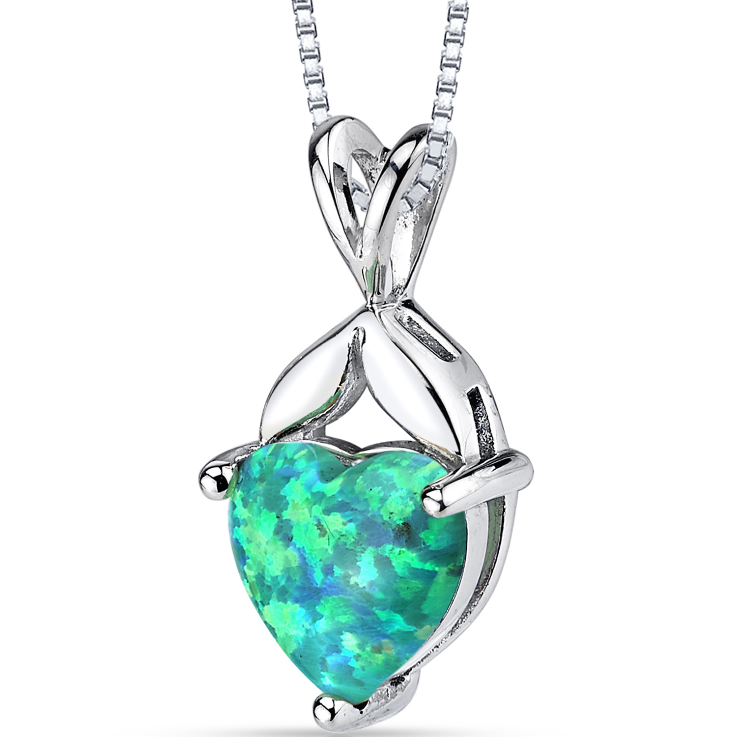 """Peora 1.50 Carat T.G.W. Heart Cut Green Opal Rhodium over Sterling Silver Pendant, 18"""" by"""