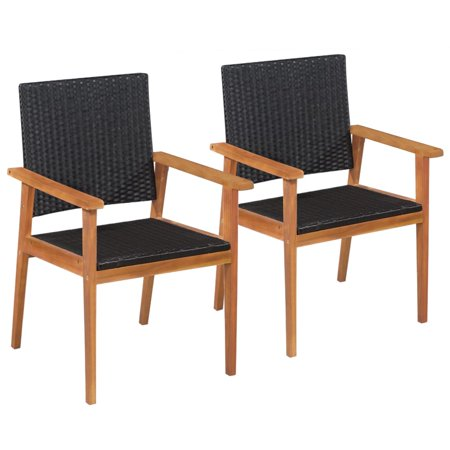 Outdoor Chairs 2 pcs Poly Rattan Black and Brown ()
