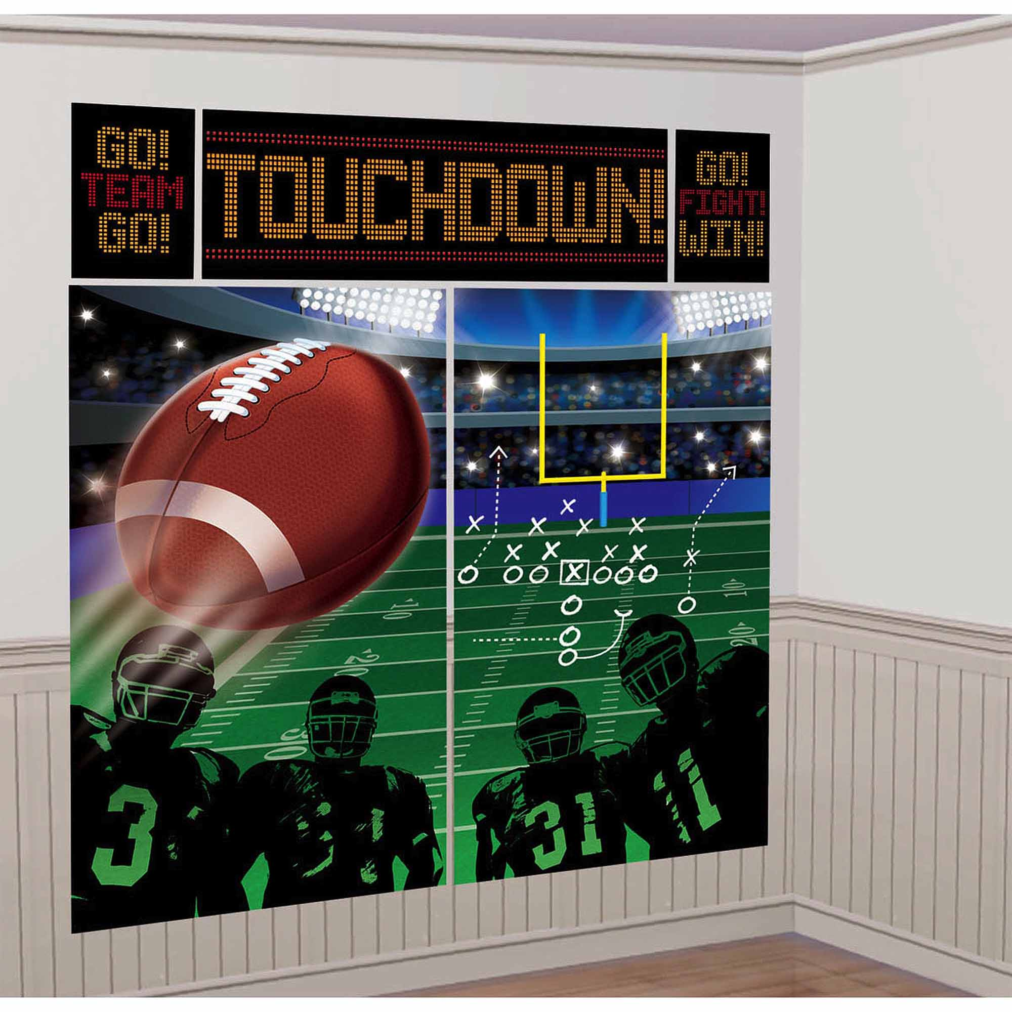 Sports themed wall decals walmart football scene setter wall decor kit amipublicfo Image collections