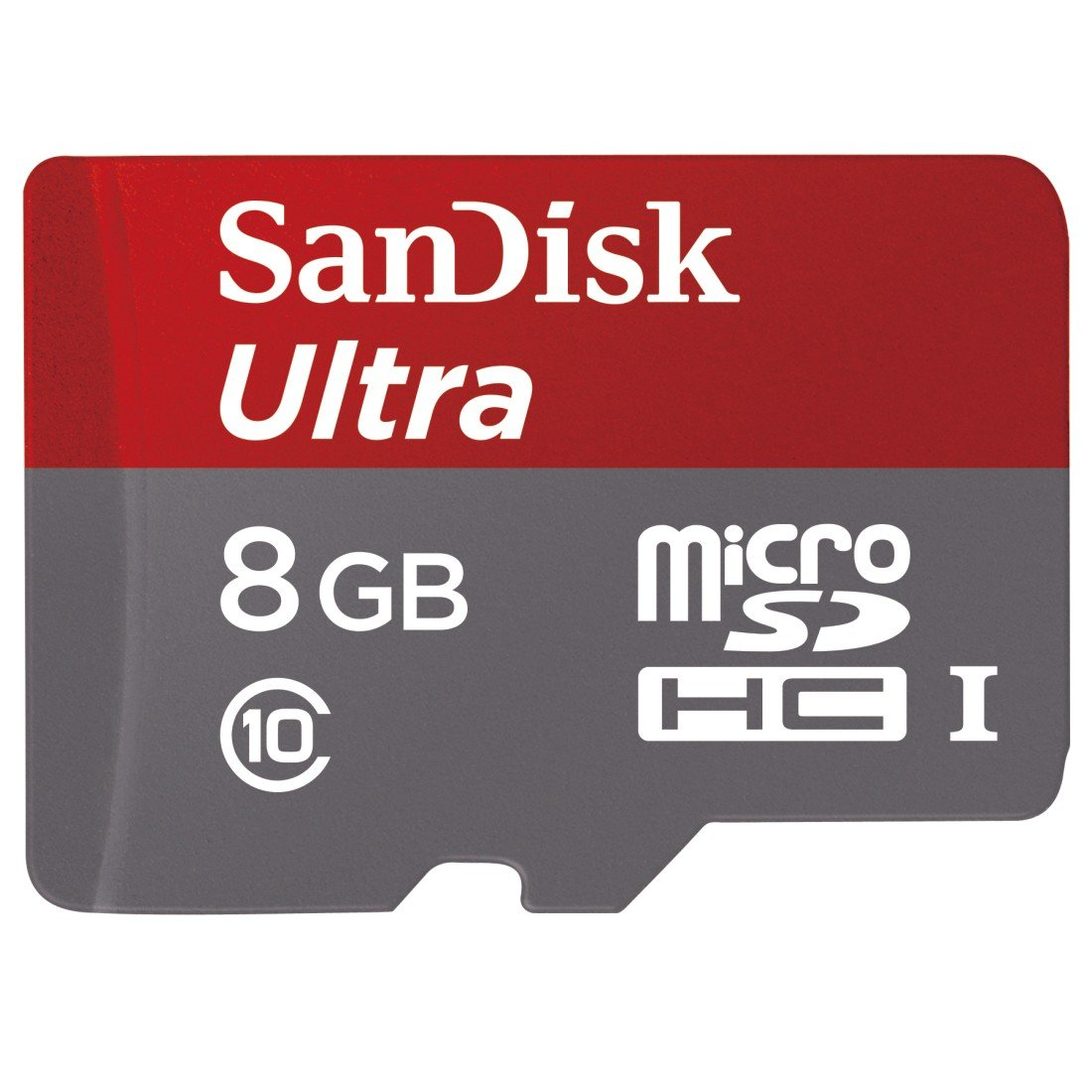 SanDisk Ultra 8GB Class 10 UHS-I MicroSDHC Memory Card with Adapter, Grey / Red, Standard Packaging (SDSDQUAN-008G-G4A)