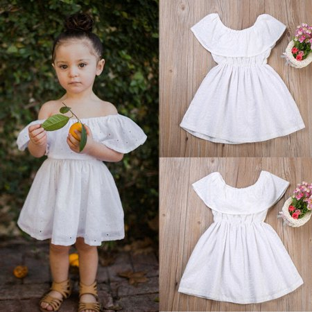 Lace Ruffle Dress Toddler (White Lace Off Shoulder Kids Baby Girls Dress Ruffles Cotton Summer Wedding Party Beach Dresses Casual Children Clothing)