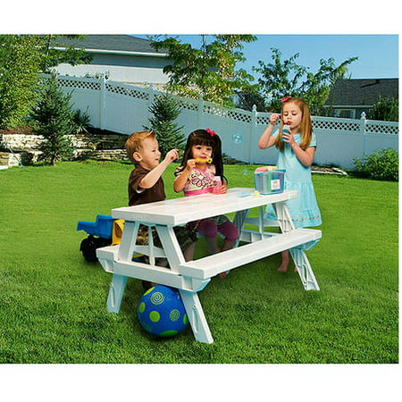 KidNic Childrens Picnic Table, White by