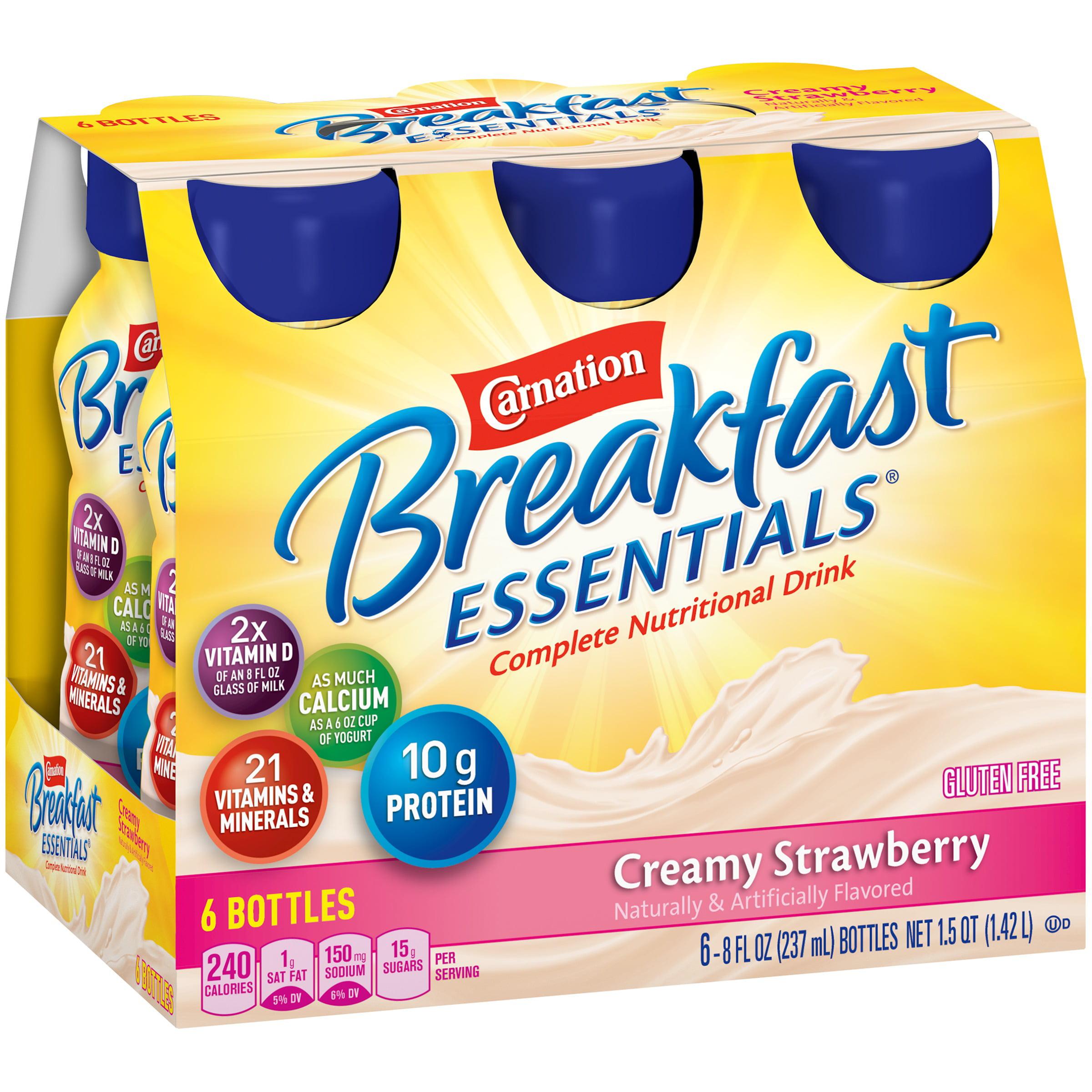 Carnation Breakfast Essentials Creamy Strawberry Complete Nutritional Drink, 8 fl oz, 6 ct