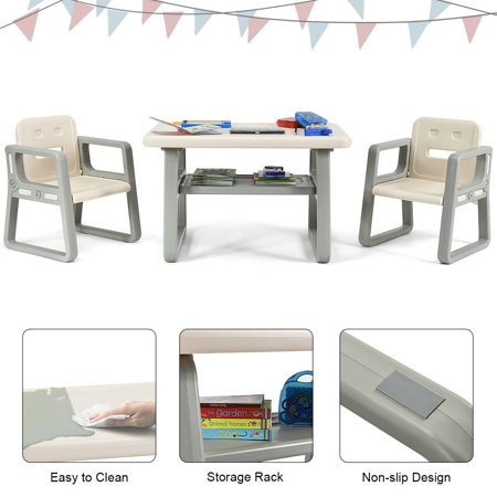 Gymax Kids Table and 2 Chairs Set Toddler Table w/ Storage Shelf For Baby Gift White - image 4 de 10
