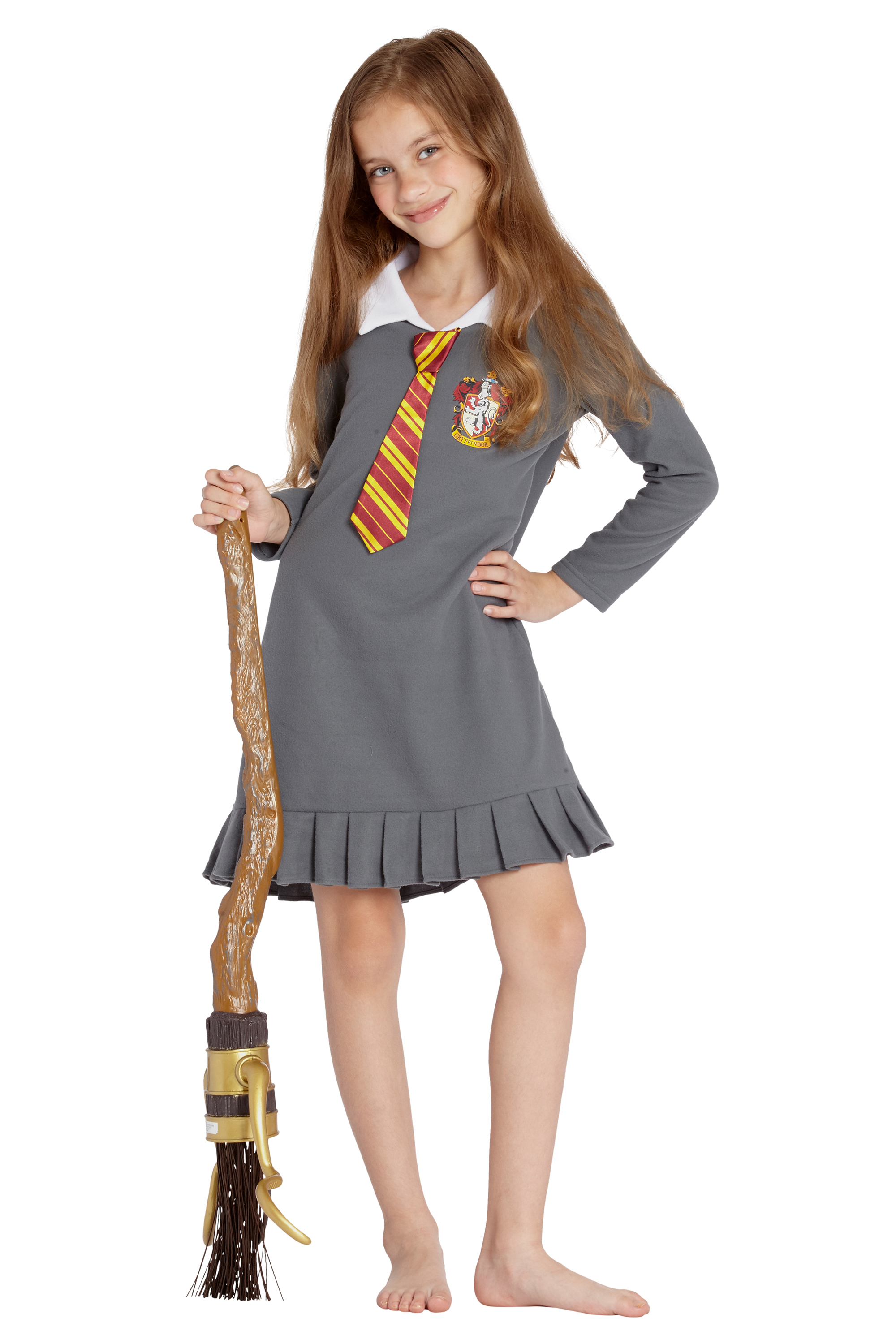 Harry Potter Pajama Girls' Hermione Gryffindor Uniform With Tie Fleece Nightgown Costume