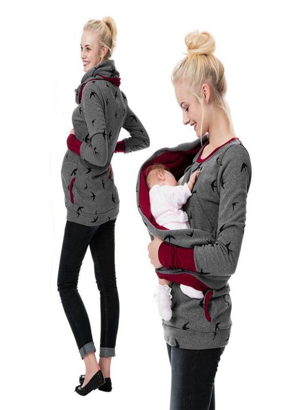 Womens Maternity Hoodie Sweatershirt Breastfeeding Nursing Jumper Tops by