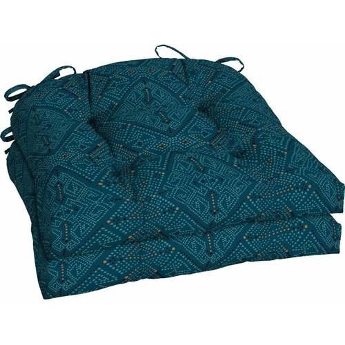 Better Homes and Gardens Outdoor Patio Wicker Seat Cushion, Set of 2, Multi Fresh Medallion