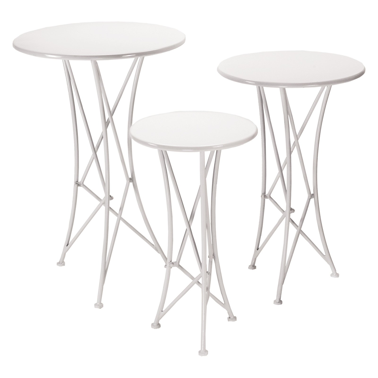 Napco Round White Metal Table - Set of 3