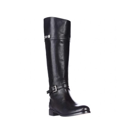 usa cheap sale special price for fashion style Womens Coach Micha Wide-Calf Knee High Riding Boots, Black Leather, 5.5 US