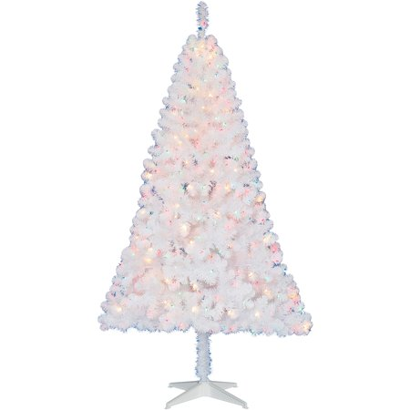 Holiday Time Pre-Lit 6.5' Madison Christmas Tree, White, Multi ...