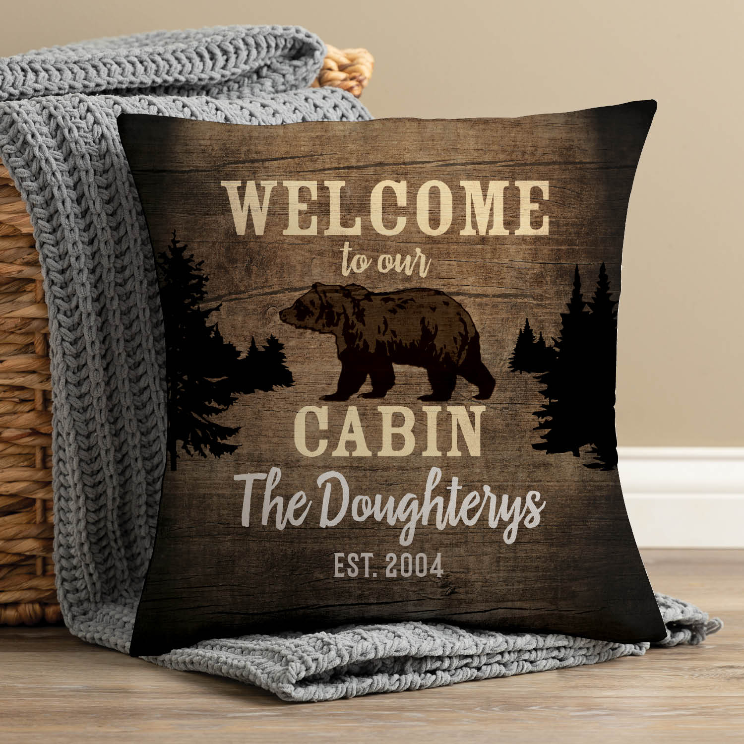 Welcome to Our Cabin Personalized Throw Pillow