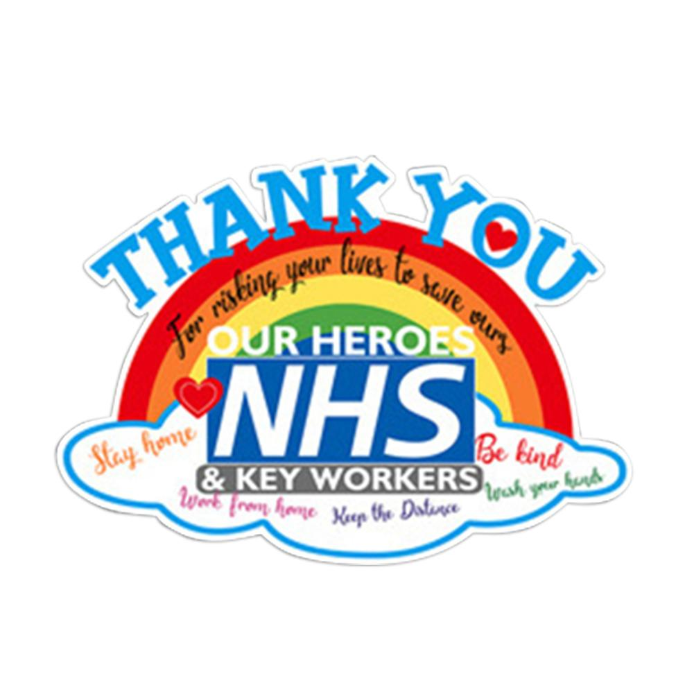 Rainbow Thank You NHS And Key Workers Vinyl Sticker.10/% of sale to NHS Charity