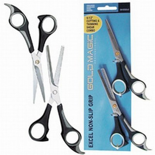Gold Magic Excel Non-Slip Grip Cutting & Thinning Shear Combo