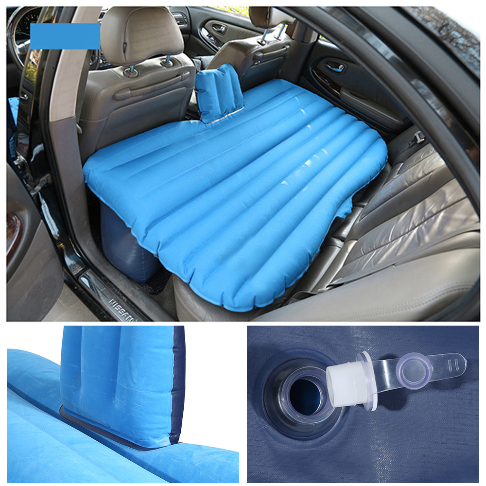 Jeobest Inflatable Car Travel Mattress Air Bed Cushion Camping Universal with Two Air Pillows Deep Blue