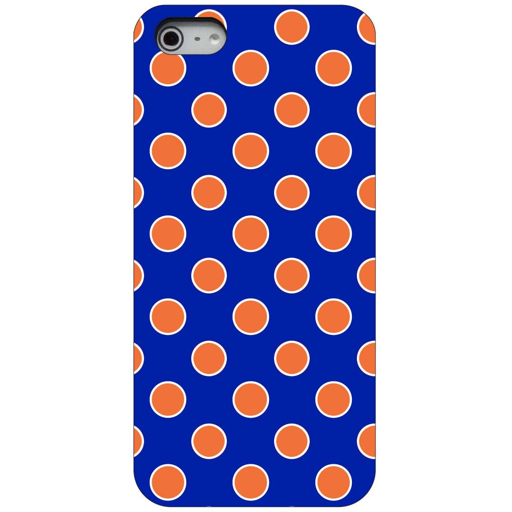 CUSTOM Black Hard Plastic Snap-On Case for Apple iPhone 5 / 5S / SE - Orange & Blue Polka Dots
