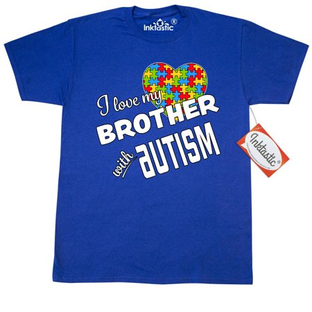 Inktastic I Love My Brother With Autism T-Shirt Awareness Sister Big Little Older Younger Family Person First People Advocate Support Hear Puzzle Pieces Mens Adult Clothing Apparel Tees