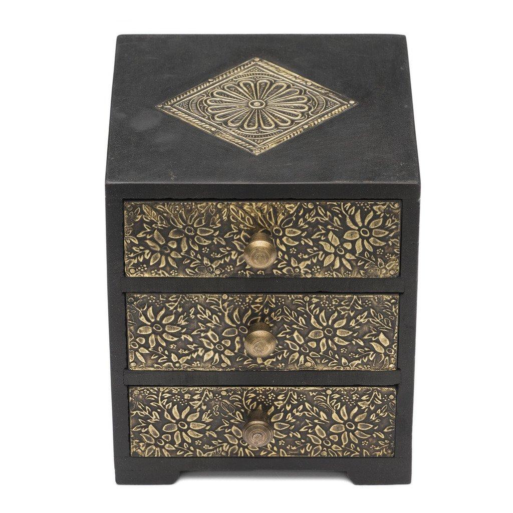 Global Crafts Golden Metal and Wood Keepsake Box - Matr B...