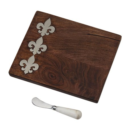 4754042 Fleur De Lis Bar Board, Brown, Two piece set includes mango wood board and spreader By Mud (Spreader Mud Pie)