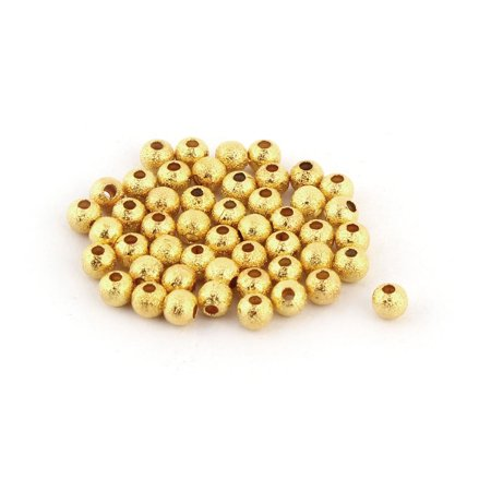 Lady Plastic Bracelet Decor Making DIY Beads Gold Tone 4mm Diameter 50pcs - image 2 de 2