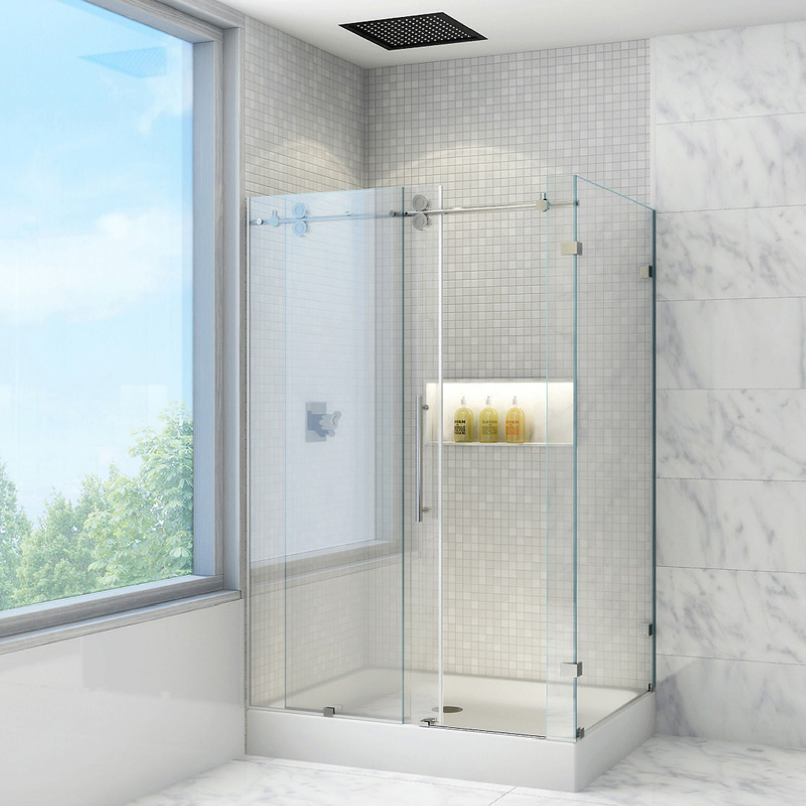 Vigo VG605148W 48.125W x 79.875H in. Clear Glass Shower Enclosure with Base