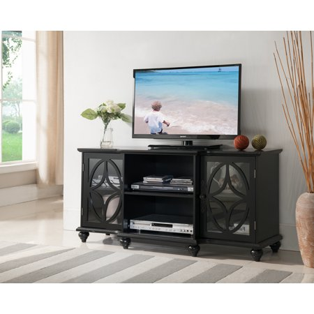 Charlee 47 Black Wood Transitional Entertainment Center Media