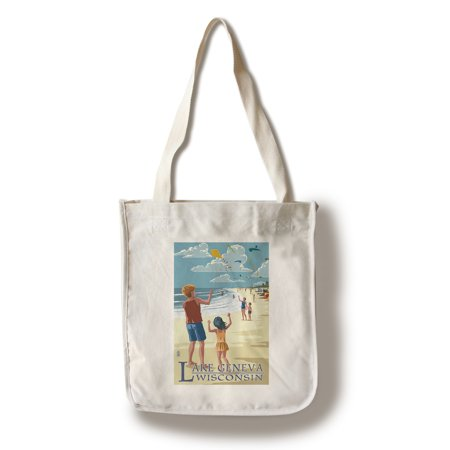 Lake Geneva, Wisconsin - Kite Flyers - Lantern Press Artwork (100% Cotton Tote Bag - Reusable)