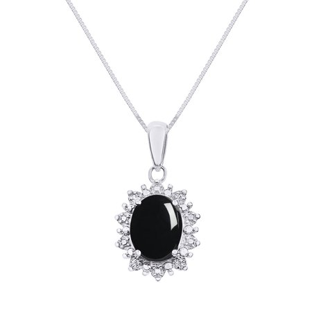 Princess Diana Inspired Halo Diamond & Onyx Pendant Necklace Set In 14K White Gold with 18