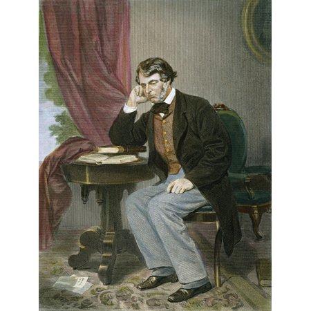Sumner Pro Roll (Charles Sumner (1811-1874) Namerican Politician Color Steel Engraving 1867 Rolled Canvas Art -  (24 x 36) )