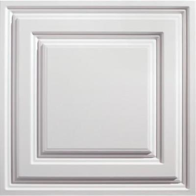 Genesis 2ft x 2ft Icon Relief White Lay In Ceiling Tile, Case of 12