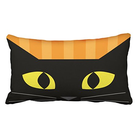 WinHome Cute Abstract Popular Halloween Black Cat Head Polyester 20 x 30 Inch Rectangle Throw Pillow Covers With Hidden Zipper Home Sofa Cushion Decorative - Cute Halloween Cover Photos