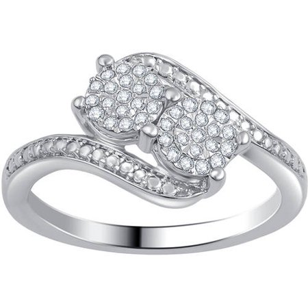 Image of Always and Forever 1/6 Carat T.W. Diamond Sterling Silver Composite Two-Stone Ring