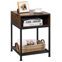 Costway Industrial Nightstand End Side Table W/ Compartment & Mesh Shelf Rustic Brown