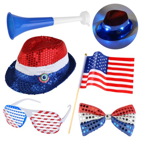 PBPBOX 4th of July Set Patriotic Party Accessory Sequin Blinking Hat & Horns & Sequin Bow Tie & Shutter Shading Glasses & American Flag