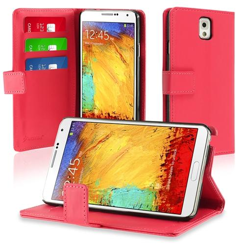 Insten PINK LEATHER WALLET CASE FOR SAMSUNG GALAXY NOTE 3 N9000