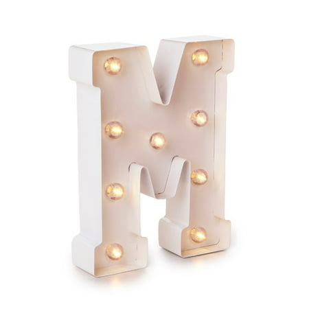 Darice Light Up Marquee Letter: White Letter M, 9.875 inches