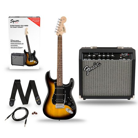 Music Man Guitar Amps - Squier Affinity Stratocaster Pack HSS Electric Guitar with Fender Frontman 15G Amp