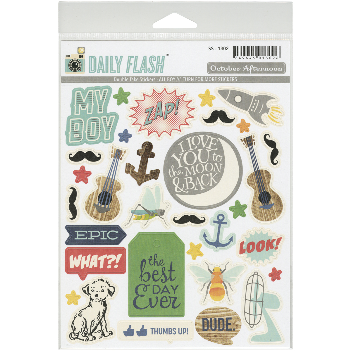 Daily Flash All Boy Double Take Stickers-Shapes & Labels