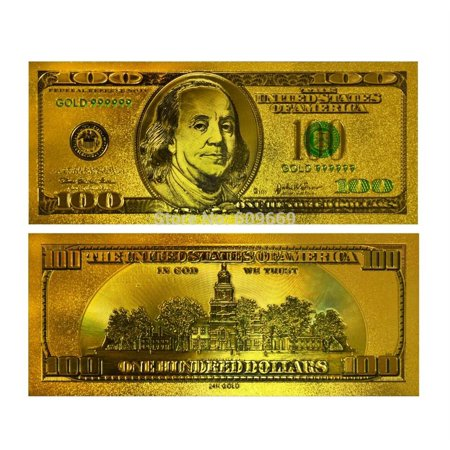 Money 100 Dollar Bill (24K Gold plated 100 Dollar Bill Replica Paper Money Currency Banknote Art Commemorative Collectible Holiday)