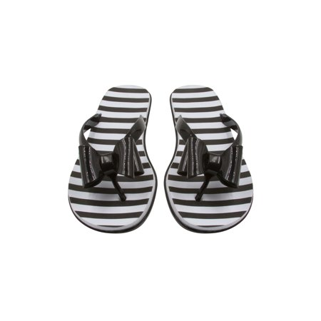Sara Z Ladies Jelly Flip Flops With Bow And Eva Printed Footbed