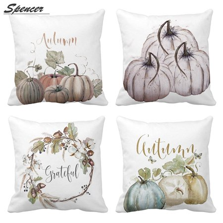 Spencer Set of 4 Halloween Pumpkin Sofa Throw Pillow Case Cushion Cover Home Decorative for Living Room Bedroom 45 x 45cm