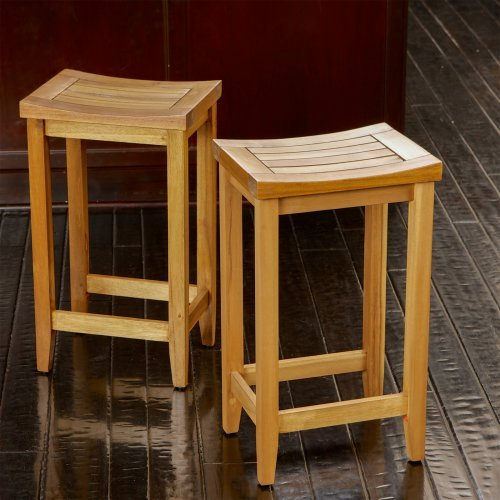 Louisa Wood Backless Counter Stools - 2 Pack