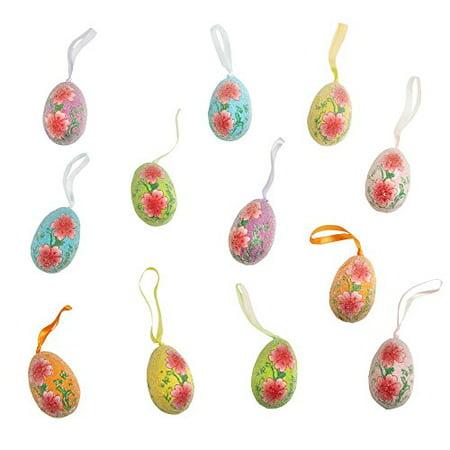 Easter Egg Ornaments (Beaded Floral Hanging Foam Glitter Easter Egg Ornaments, Set of)