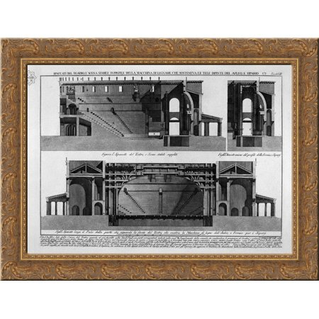 Split of the theater, and stage stable supple, and machine of wood, and painted canvases sosteneua of classrooms, and curtain 24x20 Gold Ornate Wood Framed Canvas Art by Piranesi, Giovanni Battista - Classroom Curtains