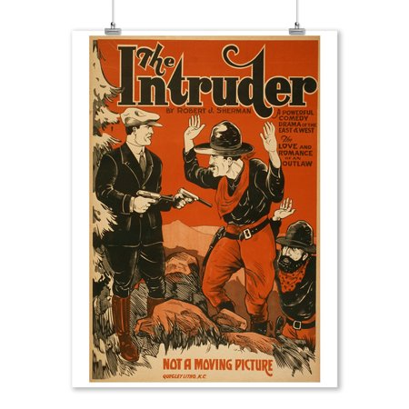 The Intruder - Western Cowboy Comedy Theatrical Poster (9x12 Art Print, Wall Decor Travel Poster) (Western Cowboy Decor)