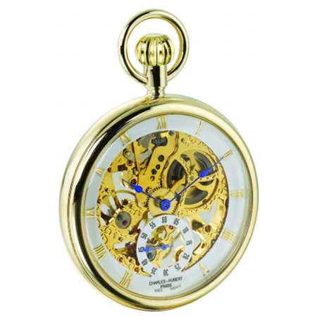Charles-Hubert- Paris Stainless Steel Gold-Plated Mechanical Open Face Pocket Watch #3566